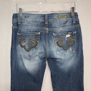 Rerock for Express Distressed Boot Cut Jeans 6